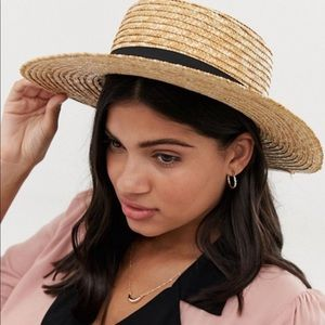 NWT South Beach Straw Boater Hat New